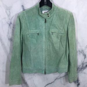 Alfani Mint Suede Leather Moto Zip Jacket Medium
